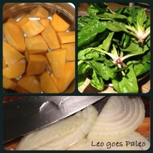 Leo goes Paleo Bataat-spinaziestamppot prep1